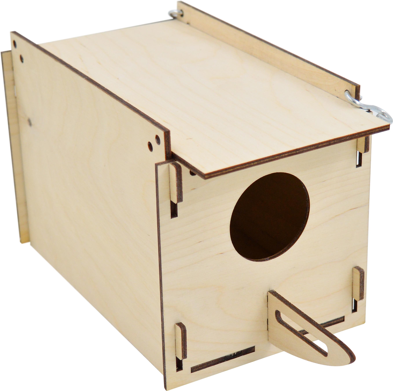 14502 домик дптиц Скворечник прямоугольный крепление к клетке фанера 13*27*14 см