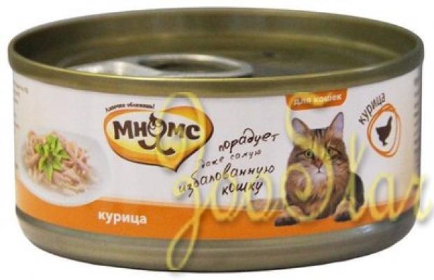 Мнямс влажный корм для взрослых кошек всех пород, курица 70 гр