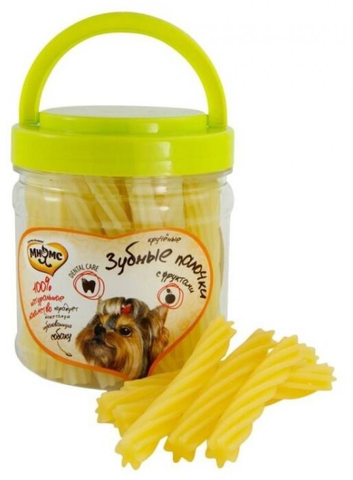 Мнямс лакомство для взрослых собак всех пород, крученые зубные палочки с фруктами 340 гр
