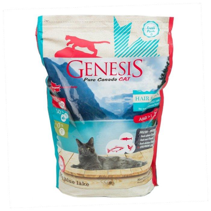 Genesis корм для взрослых кошек всех пород, идеальная кожа и шерсть, лосось, форель и курица 2,268 кг