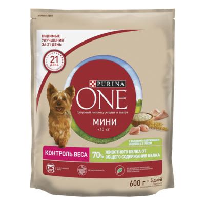 Purina One Сухой корм для взрослых собак малых пород с индейкой и рисом Здоровый вес 12363219, 0,600 кг