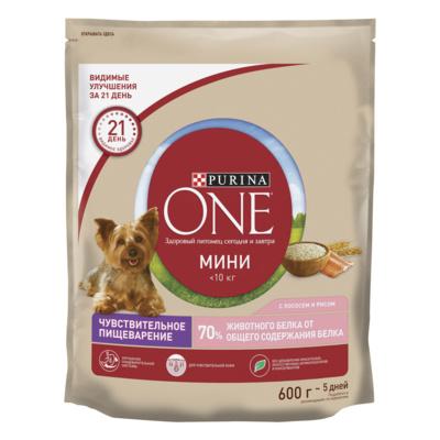 Purina One Сухой корм для взрослых собак малых пород с чувствительным пищеварением  с лососем и рисом 12324511, 0,600 кг