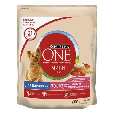 Purina One Сухой корм для взрослых собак с говядиной и рисом 12363227/12483427, 0,600 кг
