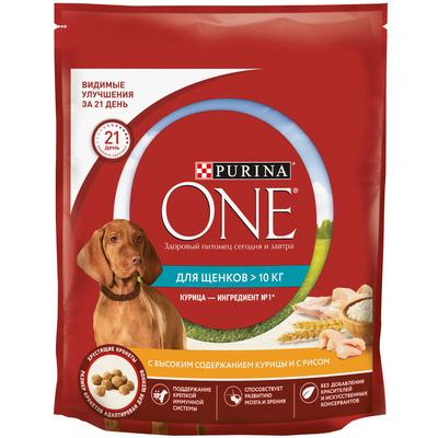 Purina One корм для щенков средних и крупных пород, курица и рис 1,8 кг