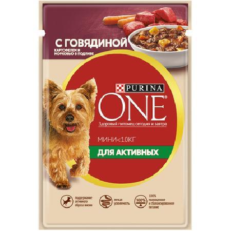 Purina One влажный корм для взрослых собак малых пород, говядина, картофель и морковь в подливе 100 гр
