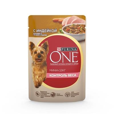 Purina One Mini влажный корм для собак малых пород, контроль веса, индейка, морковь и горох 85 гр