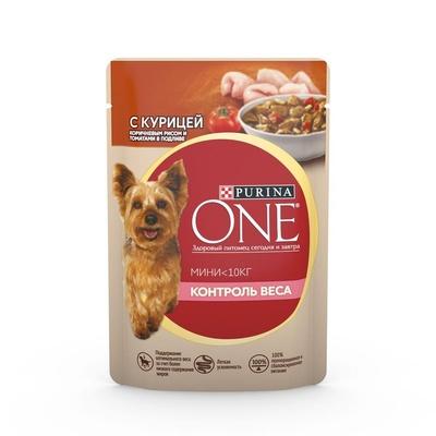 Purina One Mini влажный корм для собак малых пород, контроль веса, курица, коричневый рис и томаты 85 гр