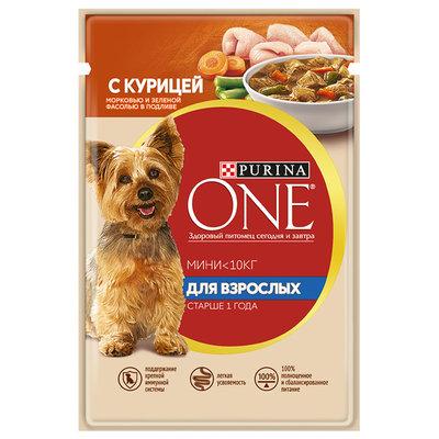Purina One Mini влажный корм для собак малых пород, курица, морковь и зеленая фасоль в подливе 85 гр
