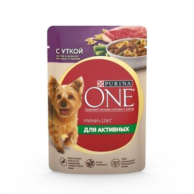 Purina One Mini влажный корм для активных собак малых пород, утка, паста и зеленая фасоль в подливе 85 гр