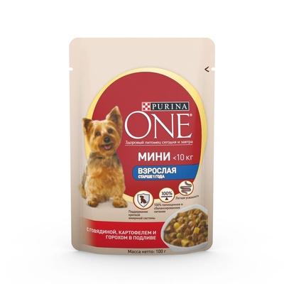 Purina One ВИА Паучи для взрослых собак малых пород с говядиной, картофелем и горохом в подливе Уже взрослая (One My Dogis Adult) 12263869/12322477/12322242, 0,100 кг, 19609