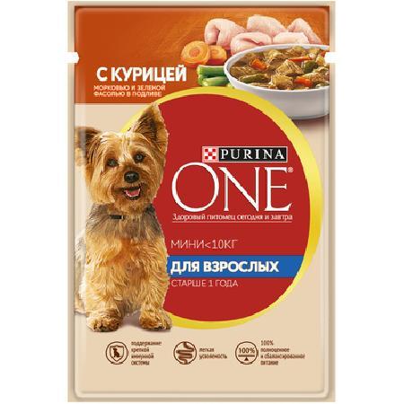 Purina One ВИА Паучи для взрослых собак малых пород с курицей, морковью и зеленой фасолью в подливе Уже взрослая. (One My Dogis Adult) 12263890/12351746/12322269, 0,100 кг, 19608