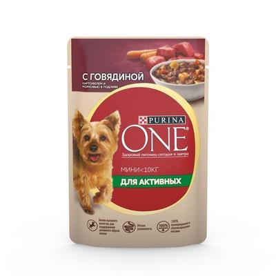 Purina One Mini влажный корм для активных собак малых пород, говядина, картофель и морковь в подливе 85 гр