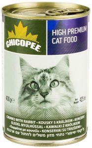 Chicopee влажный корм для кошек всех пород, с кусочками кролика в соусе 400 гр
