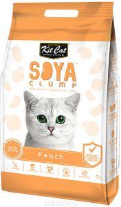 Кит Кэт соевый биоразлагаемый комкующийся наполнитель Персик / Kit Cat SoyaClump Soybean Litter Peach 2,2 кг 7 л