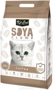Кит Кэт соевый биоразлагаемый комкующийся наполнитель Кофе / Kit Cat SoyaClump Soybean Litter Coffee 2,2 кг 7 л