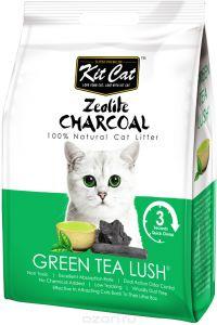 Kit Cat Кит Кэт цеолитовый комкующийся наполнитель с ароматом зеленого чая / Kit Cat Zeolite Charcoal Green Tea Lush 4 кг, KC-685