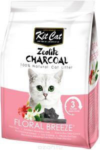 Kit Cat Кит Кэт цеолитовый комкующийся наполнитель с ароматом цветов / Kit Cat Zeolite Charcoal Floral Breeze 4 кг, KC-692