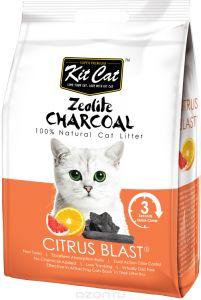 Kit Cat Кит Кэт цеолитовый комкующийся наполнитель с ароматом цитруса / Kit Cat Zeolite Charcoal Citrus Blast 4 кг, KC-708