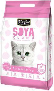 Кит Кэт соевый биоразлагаемый комкующийся наполнитель Клубника / Kit Cat SoyaClump Soybean Litter Strawberry 2,2 кг 7 л
