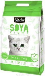 Кит Кэт соевый биоразлагаемый комкующийся наполнитель Зеленый чай / Kit Cat SoyaClump Soybean Litter Green Tea 2,2 кг 7 л