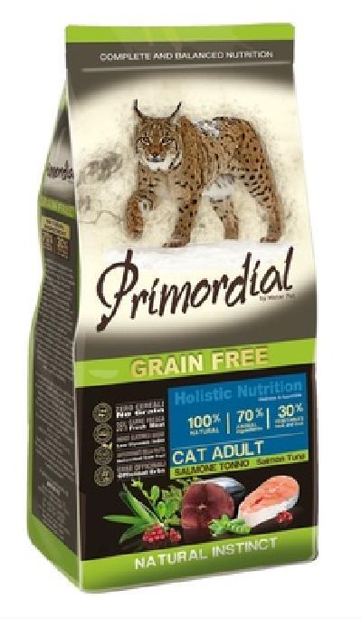 PRIMORDIAL Беззерновой корм для кошек с лососем и  тунцом 64777, 2,000 кг