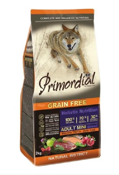 PRIMORDIAL Беззерновой корм для собак мелких пород  с форелью и уткой 65082, 2,000 кг