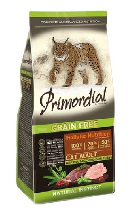 PRIMORDIAL Беззерновой корм для кошек с  уткой и индейкой 64776, 2,000 кг