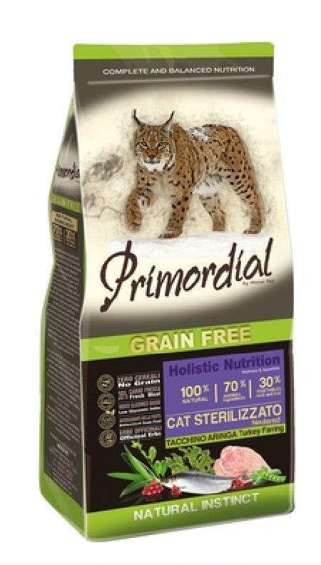 PRIMORDIAL Беззерновой корм для стерилизованных кошек с индейкой и сельдью 64781, 0,400 кг