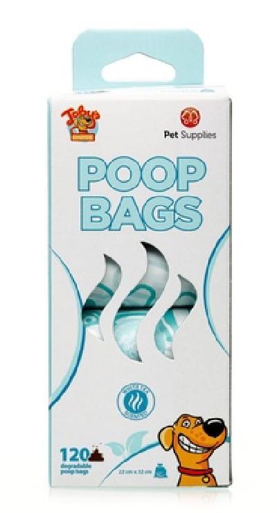 Kitty City Биоразлагаемые пакеты для уборки за питомцем с ароматом зеленого чая, 8х15 шт. (DEGRADABLE POOP BAGS WHITE TEA SCENTED), 0,245 кг, 43033