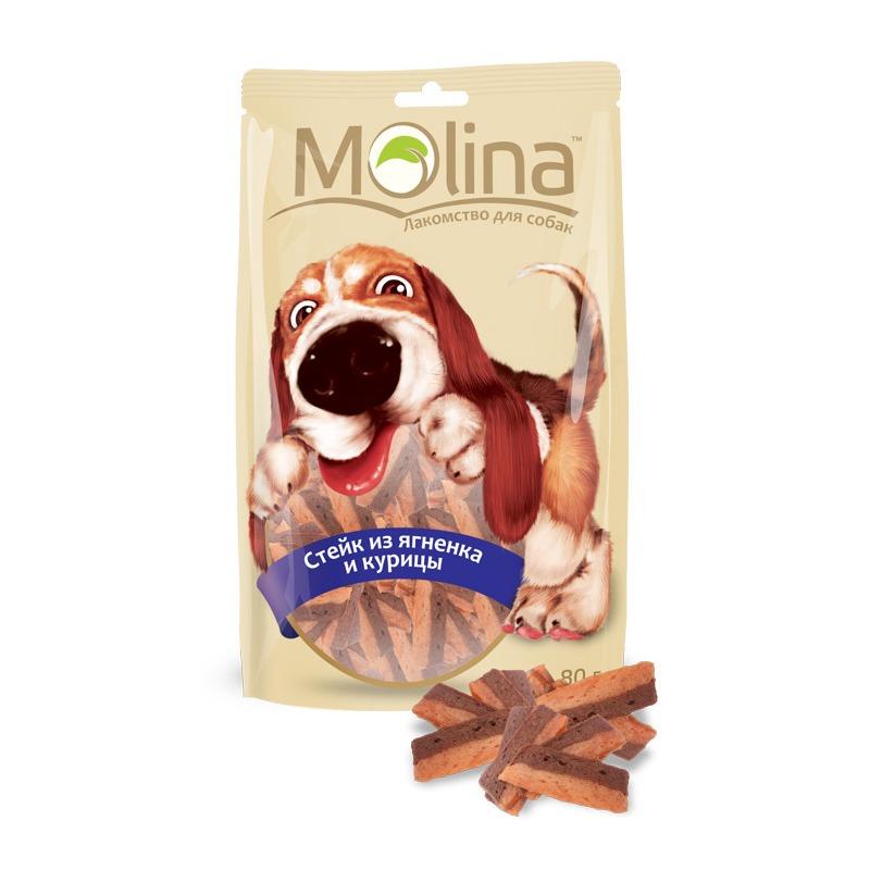 Molina лакомство для собак, стейк из ягненка и курицы 80 гр