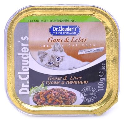 Dr. Clauders влажный корм для взрослых кошек всех пород, с гусем и печенью 100 гр