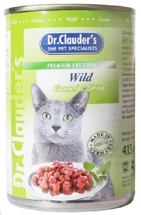 Dr. Clauders влажный корм для взрослых кошек всех пород, с дичью, кусочки в соусе 415 гр