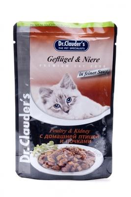 Dr. Clauders влажный корм для взрослых кошек всех пород, с домашней птицей и почками 100 гр
