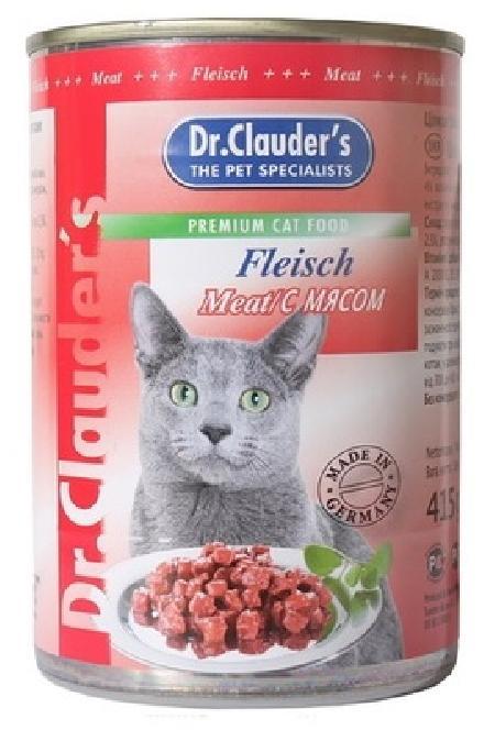 Dr. Clauders влажный корм для взрослых кошек всех пород, с мясом, кусочки в соусе 415 гр