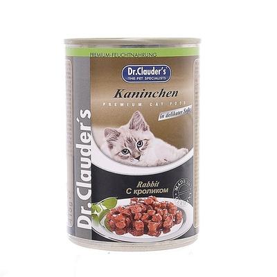 Dr. Clauders влажный корм для взрослых кошек всех пород, с кроликом, кусочки в соусе 415 гр