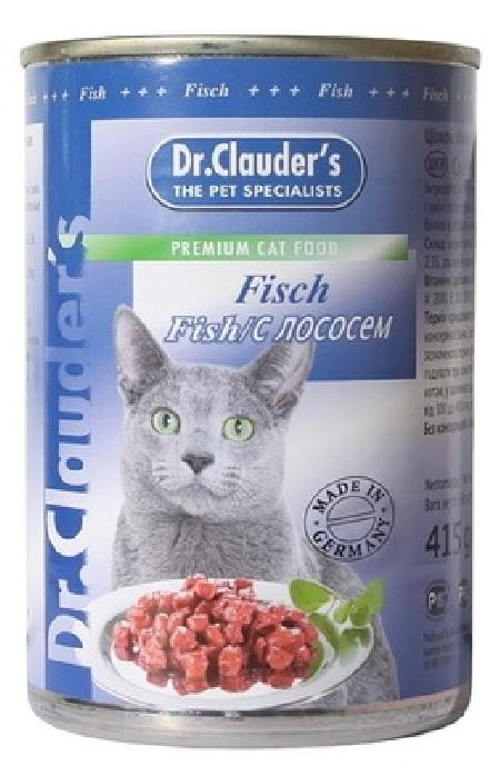 Dr. Clauders консервы для взрослых кошек всех пород, рыба лосось 415 гр
