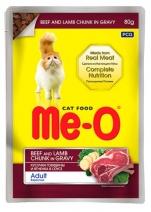 Ме-О 15500 Adult пауч д/кошек Говядина и ягненок в соусе 80г, 81873