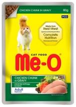 Me-o влажный корм для кошек всех пород, курица в соусе 80 гр