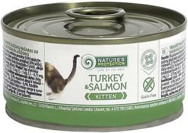 Nature's Protection влажный корм для котят и кормящих кошек всех пород, индейка и лосось 100 гр