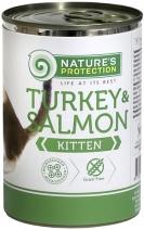 Nature's Protection влажный корм для котят и кормящих кошек всех пород, индейка и лосось 400 гр