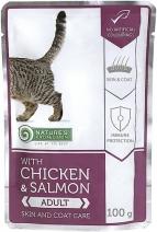 Nature's Protection влажный корм для взрослых кошек, для кожи и шерсти, курица и лосось 100 гр