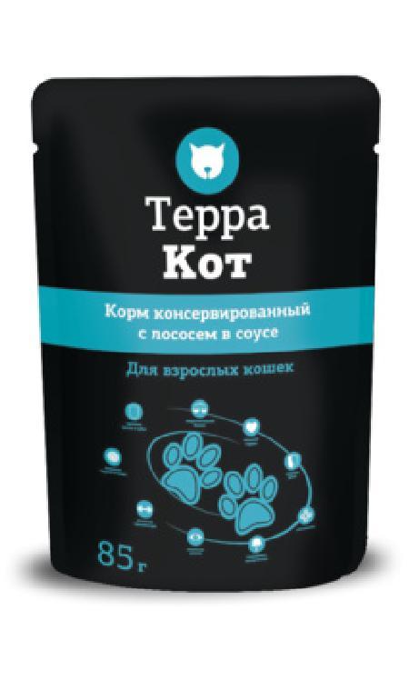 Терра Кот Паучи для взрослых кошек всоусе с Лососем, 0,085 кг