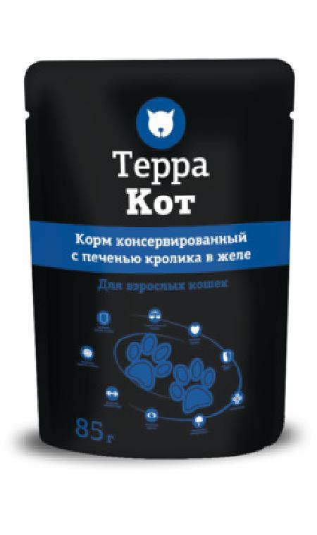 Терра Кот Паучи для взрослых кошек  в желе с Печенью кролика, 0,085 кг