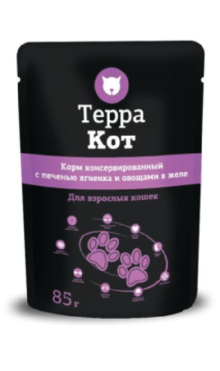 Терра Кот Паучи для взрослых кошек а желе с Печенью ягненка и овощами, 0,085 кг