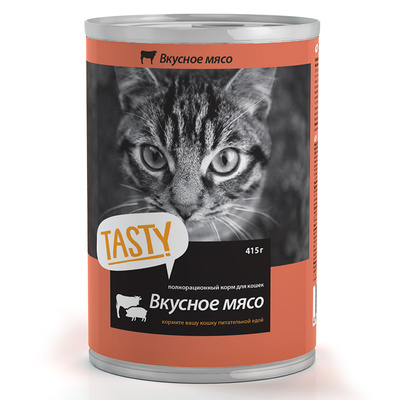 Tasty Корм консервированный  для кошек мясное ассорти в соусе, банка ( 10 TS 801), 0,415 кг