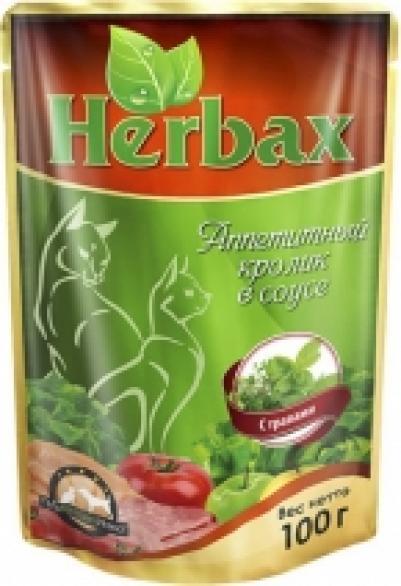 Хербакс пауч дкошек Аппетитный кролик в соусе с травами 100г