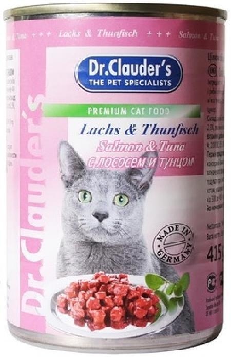 Dr.Clauders Консервы для кошек с лососем и тунцом, 0,415 кг