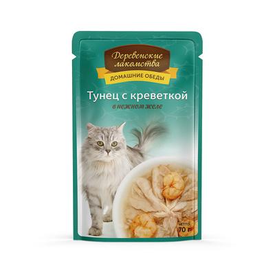 Деревенские лакомства Консервы для кошек «Тунец с креветкой в нежном желе» , 0,070 кг
