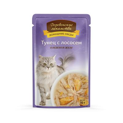 Деревенские лакомства Консервы для кошек «Тунец с лососем в нежном желе» , 0,070 кг