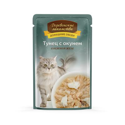 Деревенские лакомства Консервы для кошек «Тунец с окунем в нежном желе» , 0,070 кг